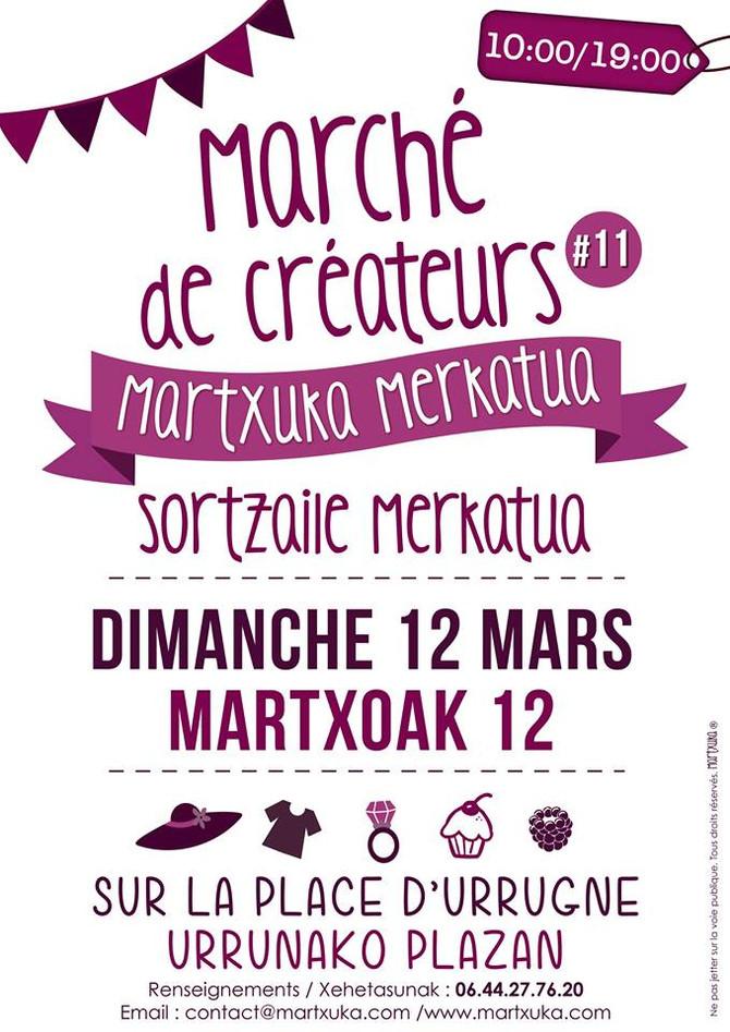 Je serai au nouveau Marché de Créateurs de Martxuka à Urrugne, le 12 mars 2017 !