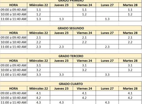Preescolar y Primaria: Horarios del 22 al 28 de Julio de 2020