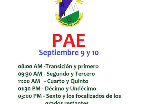 PAE: 9 y 10 de Septiembre