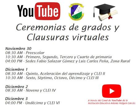 Ceremonias de grados y clausuras