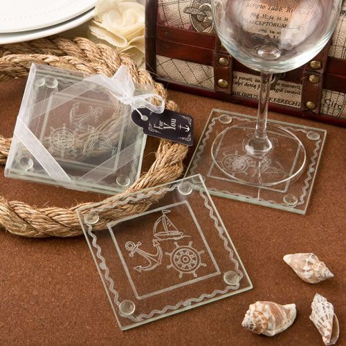 Nautical Themed Clear Glass Set Of 2 Coasters