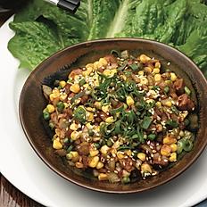 "Sang Choi Bao - Char siu ""pork"", baby garlic stem, sweet corn, wok crisped onion"