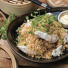 King prawns with coconut crumb, wasabi mayo (6pcs)