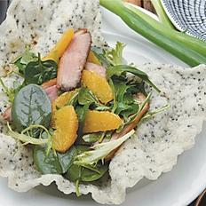 Duck breast salad, orange citrus dressing