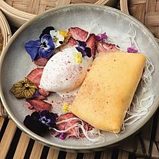 Mango Pancakes with Vanilla Ice-Cream