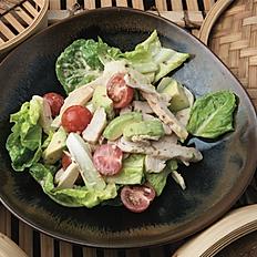 Chicken avocado salad, roasted sesame mayo dressing