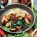 Stir fried crispy pork belly, Chinese broccoli, chilli and crackling