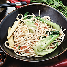 Stir fry noodles, mixed vegetables and sweet soy