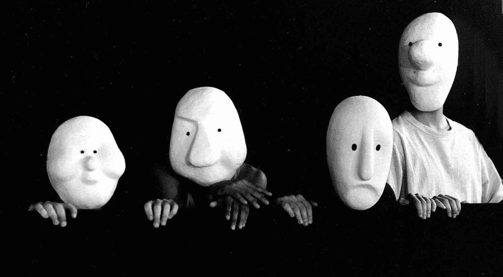 larval masks black and white