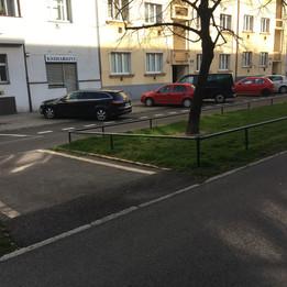Flat rail over the grass  