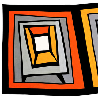 MY TWO TVS  42 x 78 inches     Private Collection   Irvine, CA  2012 Quilts=Art=Quilts Schweinfurth Art Center Auburn, NY