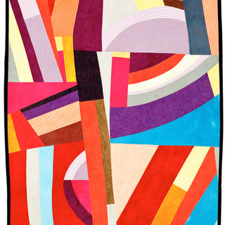 ALL STACKED UP  50 x 29 inches Private Collection Salisbury, CT  2011 Quilts=Art=Quilts Schweinfurth Art Center Auburn, NY