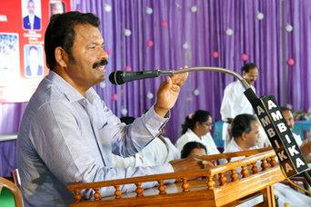 Babumon giving a talk