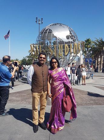 Babumon & his wife Beena at Universal Studios