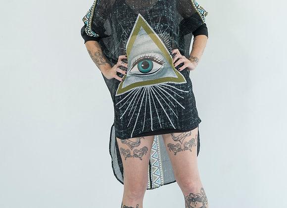 All Seeing Eye - Oversized Silk Shirt