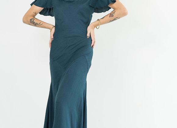 Dark Jade Butterfly Sleeve Dress