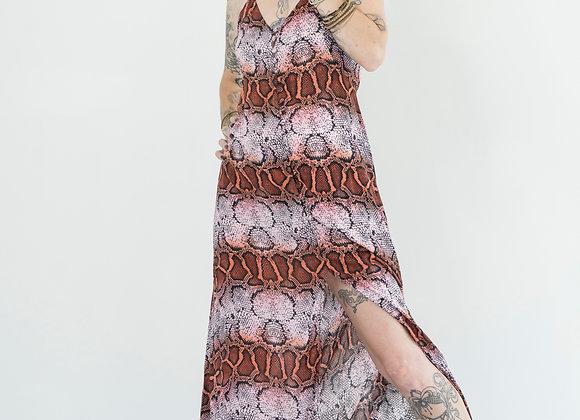 Rosy Snake - Button Front Slip Dress