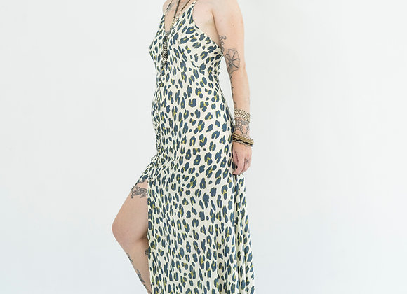 Snow Leopard - Button Front Slip Dress