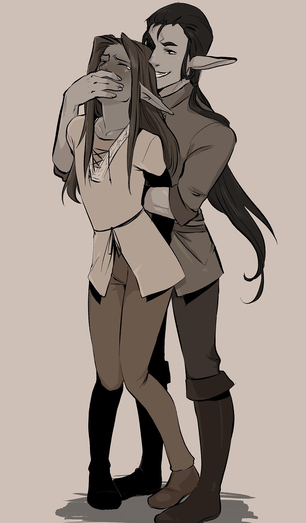 Krovis og Robin, tegnet af kukumomoart.tumblr.com