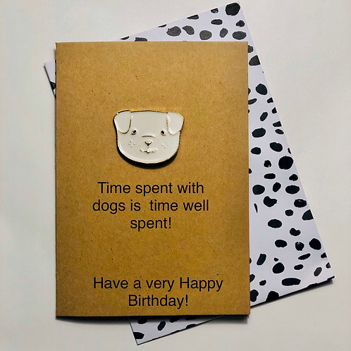 Dog Lover Enamel Pin Badge & Card