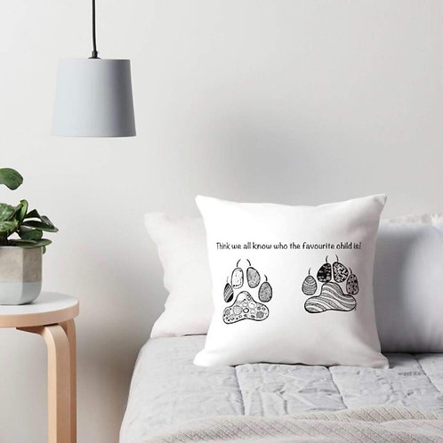 We all know who the favourite child is - paw prints cushion