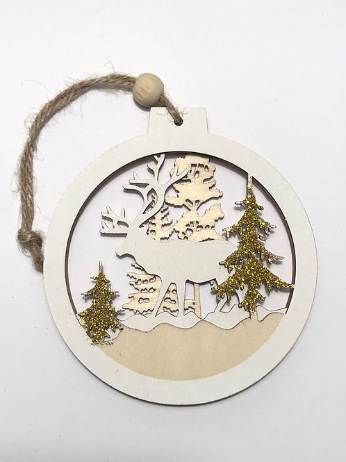 Wooden Reindeer Bauble with gold trees