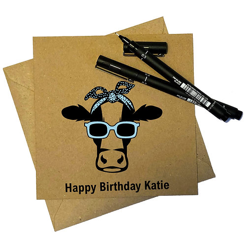 Personalised Funky Cow Birthday Card