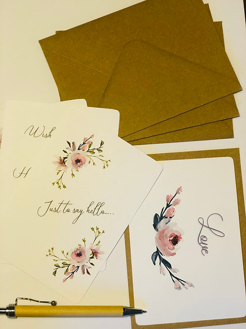 Roses Postcard Set with Kraft Envelopes
