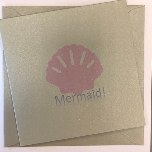 Silver & Pink Mermaid Greetings Card