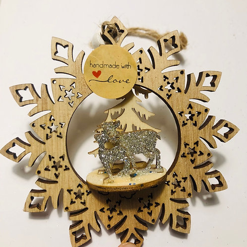 3d Silver glitter reindeer decoration
