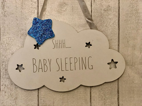Shhh sleeping Baby sign with blue glitter