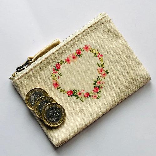 Peonies, Roses & Eucalyptus Coin purse