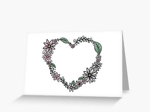 Flower Heart Wreath Card