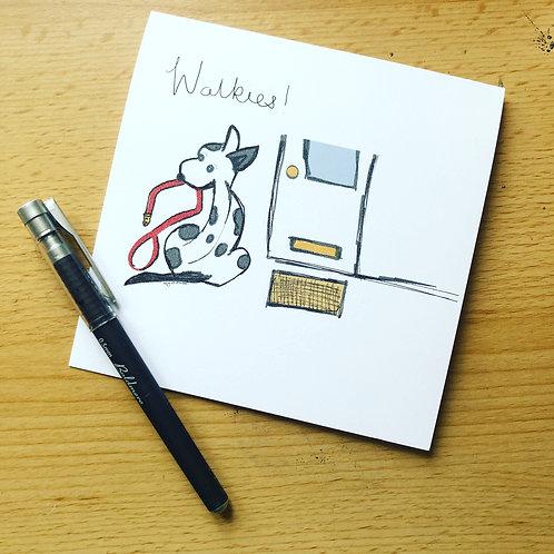 'Walkies' greetings card