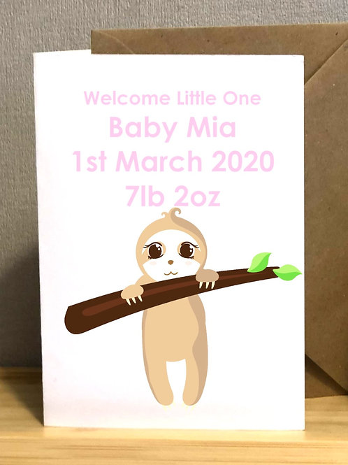 Personalised Sleep Sloth ~ New Baby Card
