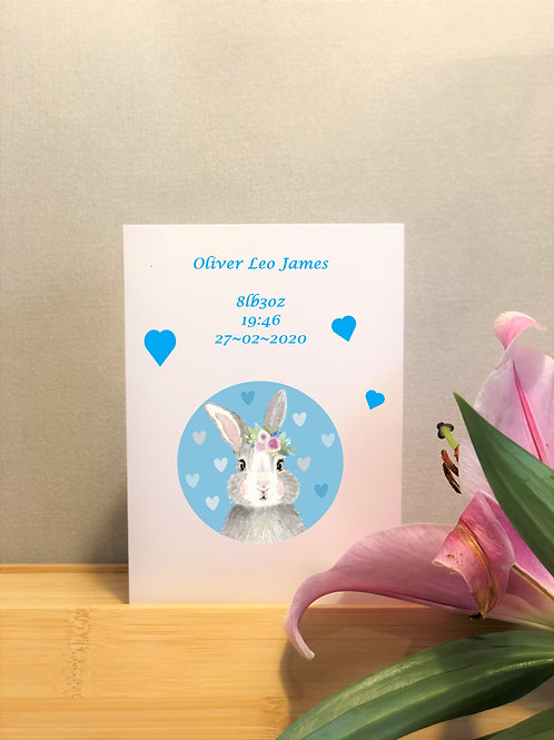 Personalised Bunny New Baby Card