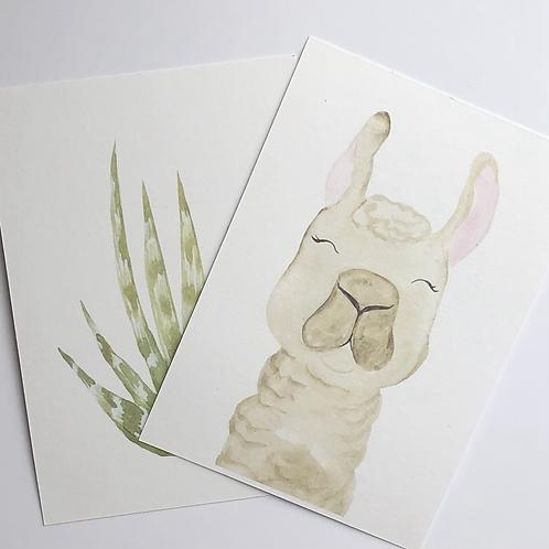 Sleepy Llama Print