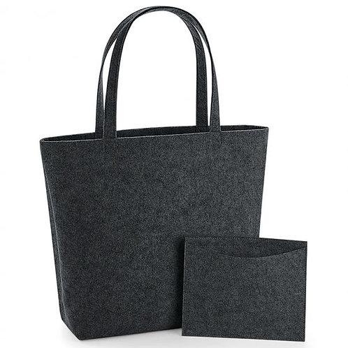 Charcoal Felt Shopper Bag
