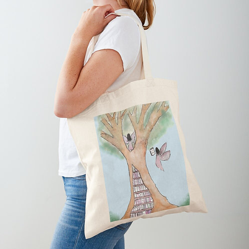 Fairy Library Tree Tote Bag