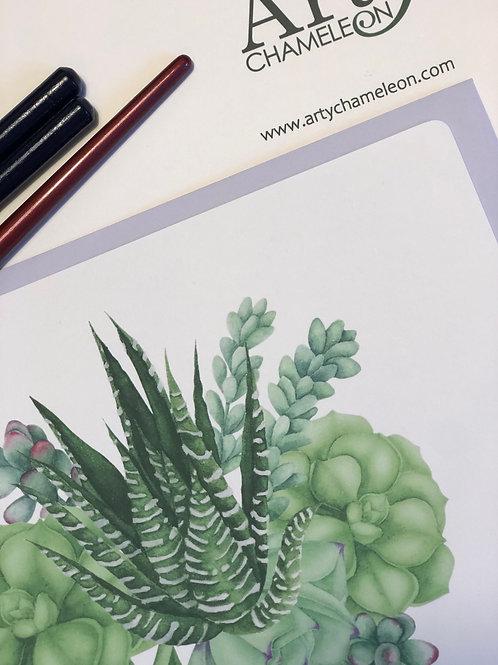 Green Succulents Watercolour