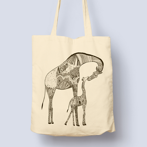 Mother & Baby Giraffe Tote