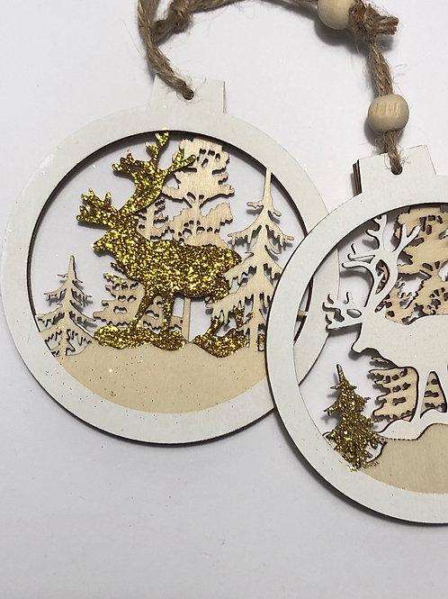 Set of 2 Wooden Reindeer Baubles