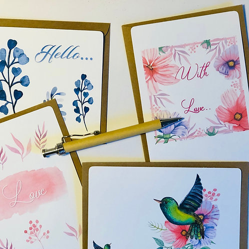 Postcard set of 4 Bright Birds & Colourful Flowers