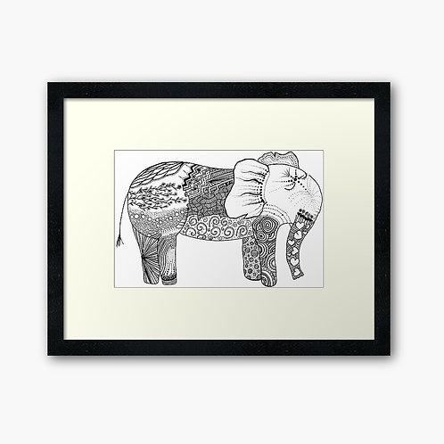 Pen & Ink Zentangle Pattern Elephant