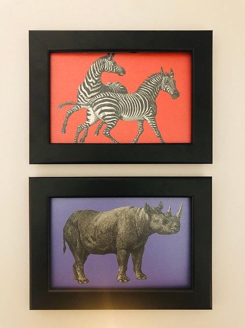 Vintage Style African Animals Art Print / Giraffe Elephant Leopard Wild Animals