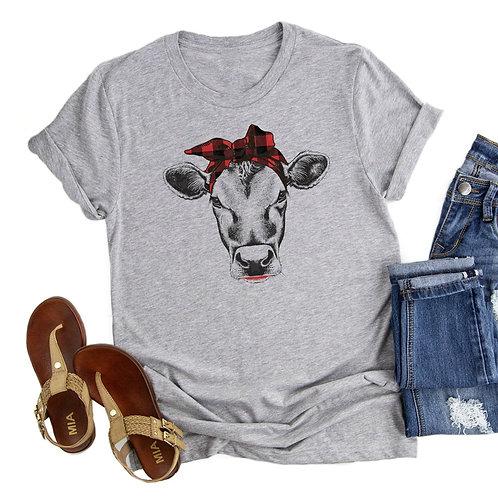 Cow T-Shirt Cute Farm Girl Cow Graphic Tees Tops Short Animal Lover Tshirt