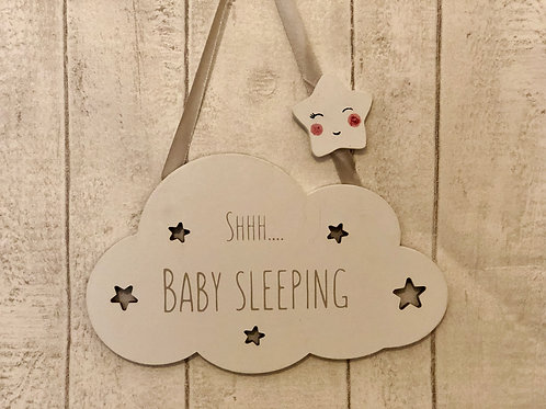 Wooden shhh baby sleeping sign