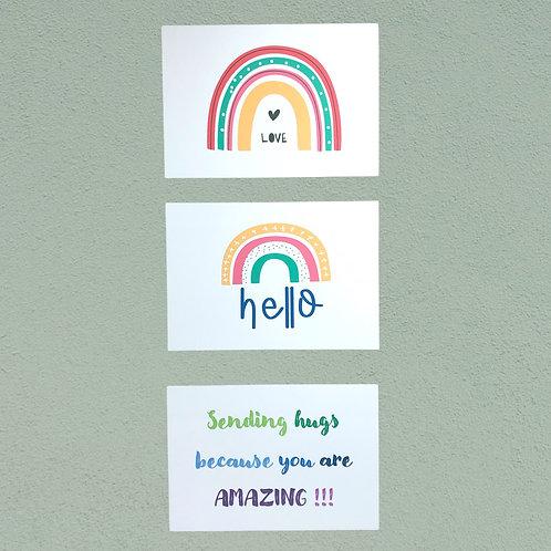 Set of 9 Rainbow Postcards
