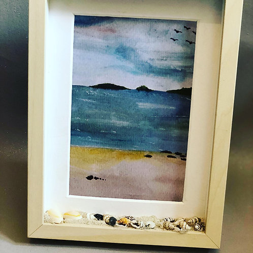 Watercolour beach with shell and beech effect frame