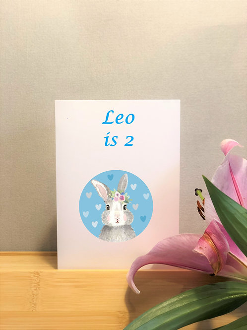 Blue Bunny Personalised Birthday Card